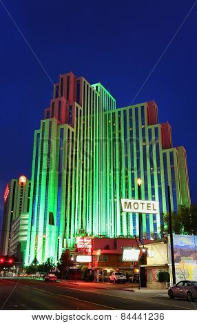 Reno, Usa - August 12: Silver Legacy Resort And Casino At Night On August 12, 2014 In Reno, Usa.  Re