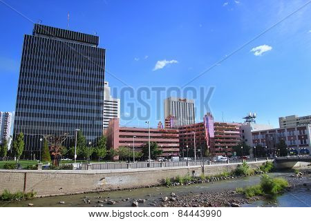 Reno, Usa - August 12: Apartment Buildings And Casinos Along Truckee River On August 12, 2014 In Ren