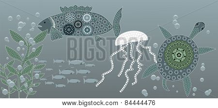 An Illustration Based On Aboriginal Style Of Dot Painting Depicting Sea Life