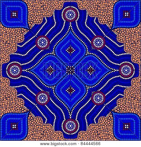An Illustration Based On Aboriginal Style Of Dot Painting Depicting Strangers (orange)