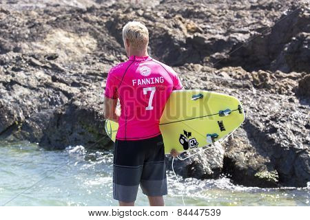 Mick Fanning competing in the Quicksilver Pro at Snapper Rocks
