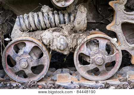 Road Wheels Of The Continuous Tracks. Close Up.