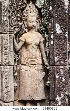 Fresco Angkor Wat Angkor Thom. The Ancient Ruins Of A Historic Khmer Temple In The Temple Complex O