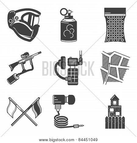 Paintball equipment black vector icons