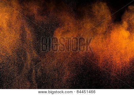 Abstract orange paint Holi.