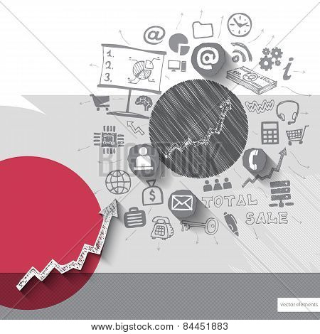Paper and hand drawn graphic diagram emblem with icons background
