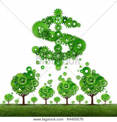 crowdfunding investing and collective income concept as a group of green trees made of gears contributing to a dollar sign symbol shaped with cog wheels as a crowd funding idea. poster