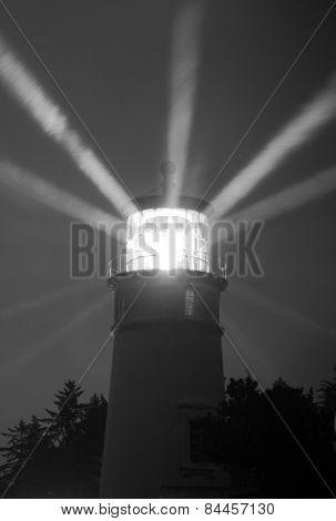 Lighthouse Beams From Lens Rainy Night Pillars Of Light