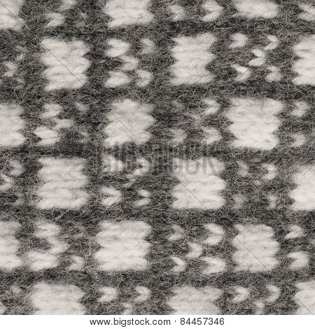 Gray mitten background, grey white textured woolen mittens pattern, knitted warm wool winter fingerless gloves detail, large detailed horizontal vintage texture macro closeup poster