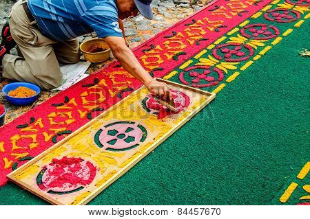 Man Making Lent Processional Carpet, Antigua, Guatemala
