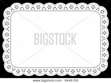 White eyelet lace place mat for home decorating, setting table, arts, crafts, scrap books and backgrounds. EPS8 organized in groups for easy editing. poster