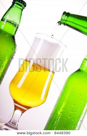 Chilled golder beer on perfect background shot in studio poster