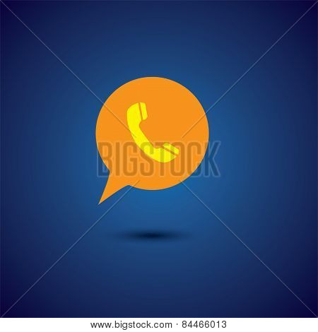 Yellow Orange Flat Design Chat Or Speech Bubble Vector Icon With Phone Receiver Representing Interac