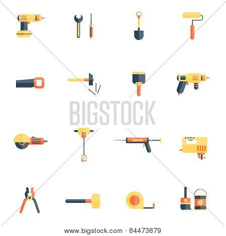 Home Repair Tools Icon Flat