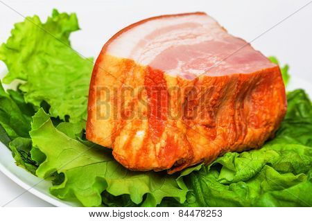 Plate With Pork Brisket And Salad