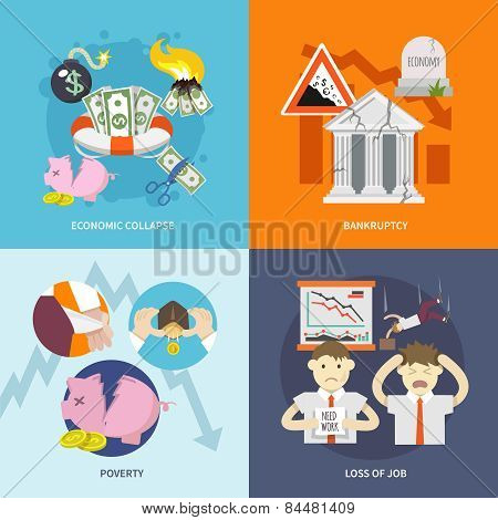 Economic crisis design concept set with collapse bankruptcy poverty job loss flat icon isolated vector illustration poster