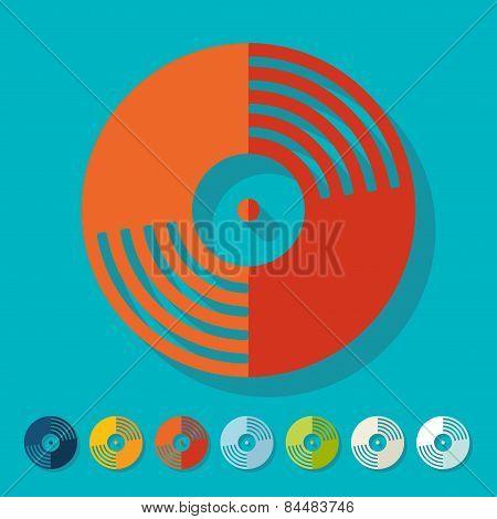 Flat design. vinyl record