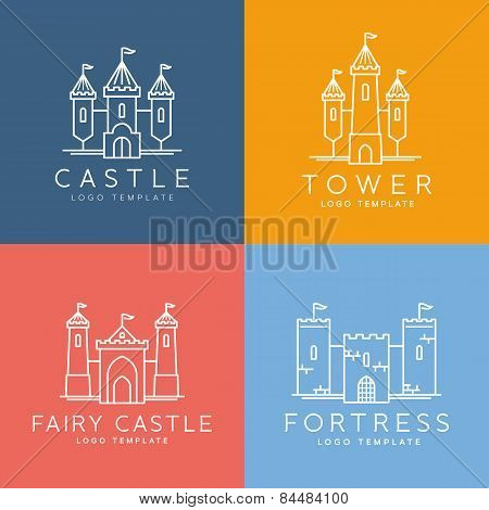 Abstract Castle Line Style Vector Logo Template Set
