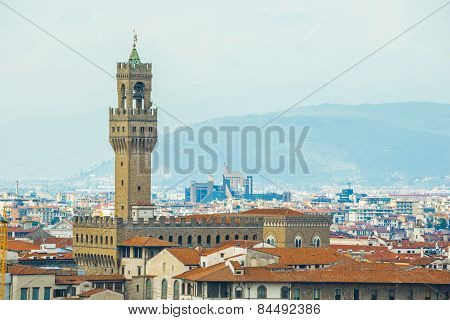 Medieval palazzo vecchio in florence, tuscany, italy poster