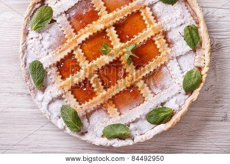 Italian Tart With Apricot Jam Close Up Horizontal Top View