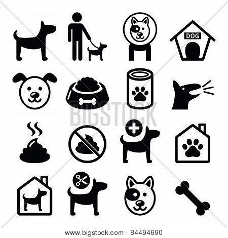 Dog, pet icons set - vet, dog's food, dog hotel