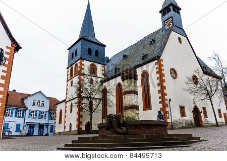 Marketplace in the fairy tale town Steinau an der Straße, Hesse, Germany poster