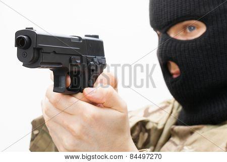 Man In Black Mask Holding Handgun
