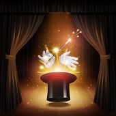 Magic trick poster with realistic magician cylinder gloves and stick with curtains on background vector illustration poster