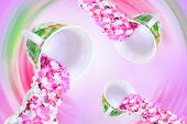 flowers herbal tea in pink vortex of cups poster