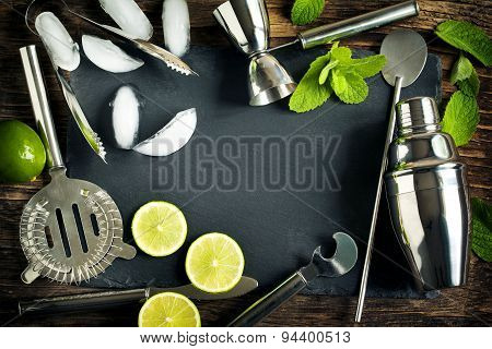 Set Of Bar Accessories And Ingredients For Making A Cocktails Arranged