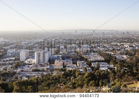 LOS ANGELES, CALIFORNIA, USA - January 1, 2015:  Smoggy haze filled morning sky above Hollywood and West Hollywood in Southern California.