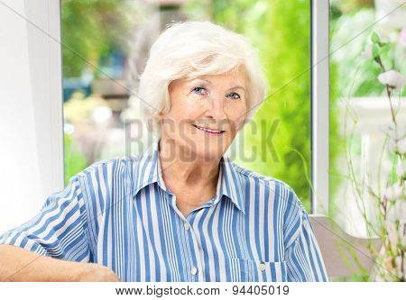 Beautiful senior woman sitting in her winter garden , in the background the garden