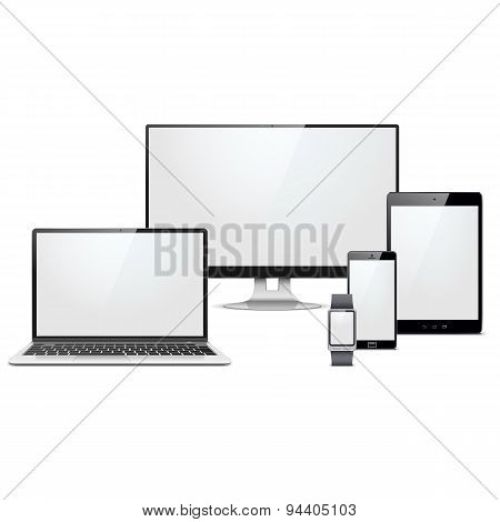 Vector Modern Electronic Devices Set
