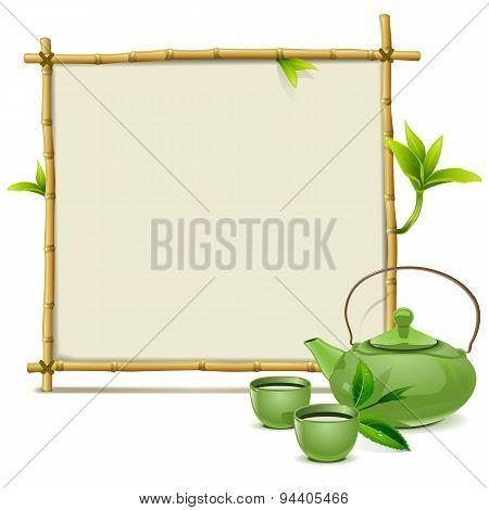 Vector Bamboo Frame With Green Tea