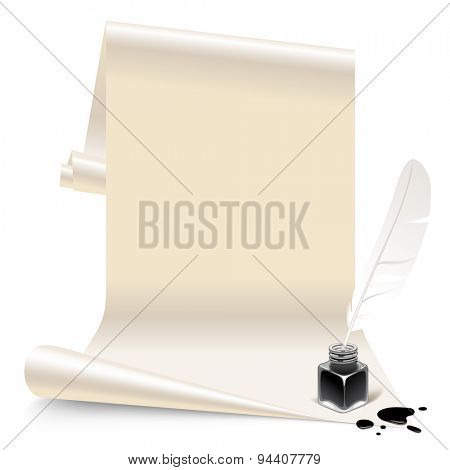 Vintage banner in the form of white paper with an inkwell and feather