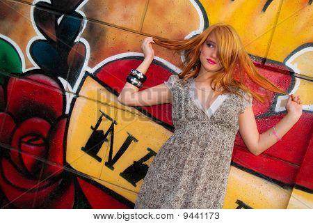 girl on the graffiti background