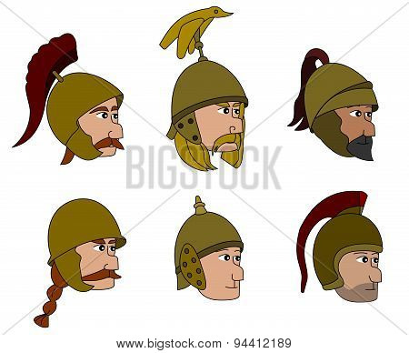 Ancient Soldiers Faces Cartoons