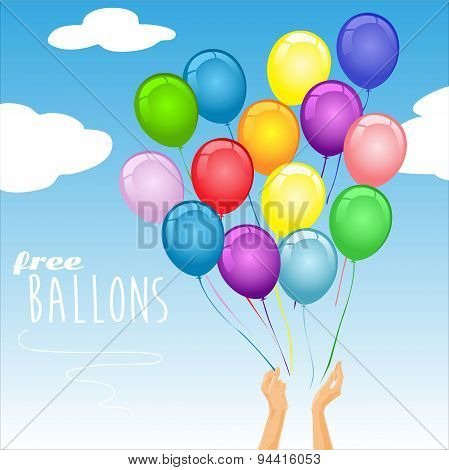 Colorful party balloons in the air - vector illustration