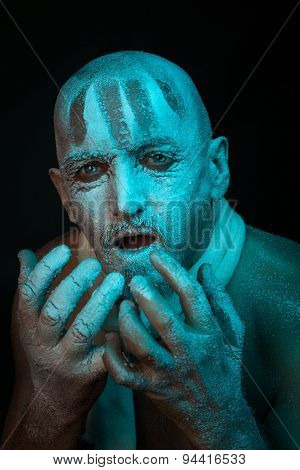 Portrait Of Frozen Man.
