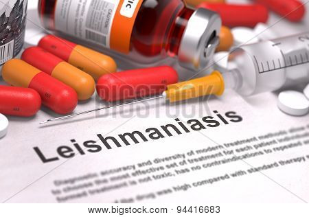 Diagnosis - Leishmaniasis. Medical Concept. 3D Render.