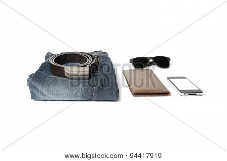 man accessories isolated on a white background