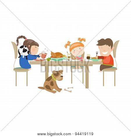 Illustration of children eating on a white background