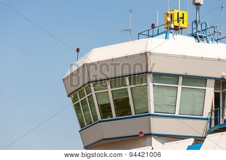 Air control tower in the airport morning light.