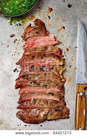 Flank Steak With Chimichurri Sauce.