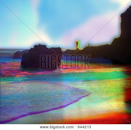 a beach in california with a fisherman becomes even more colorful when photographed through red green then blue filters to separate the colors. poster