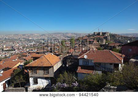 Panorama Ankara and Ak-Kala fortress on the hill Hissar. Turkey.