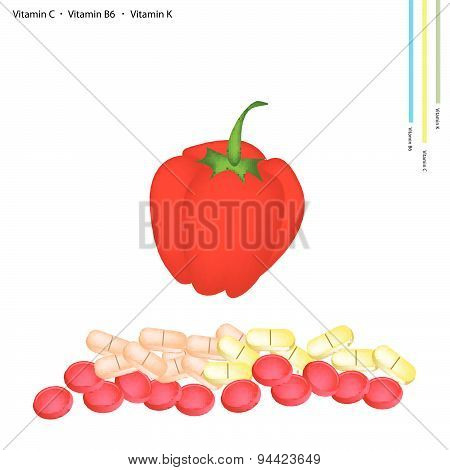 Red Bell Peppers With Vitamin C, B6 And K