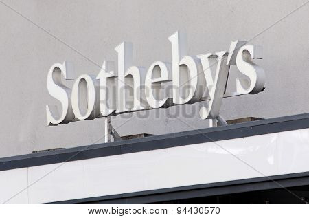 Sign Over The Entrance Of The Sotheby's Office In Zurich