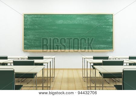 empty school classroom with blackboard. 3D rendering
