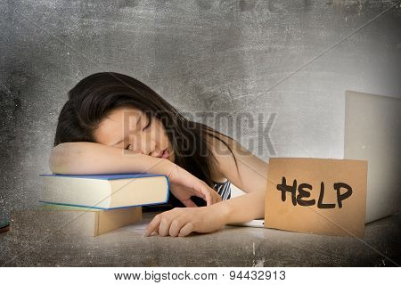 Young Pretty Asian Chinese Woman Student Asleep On Her Laptop Studying Overworked With Help Sign On
